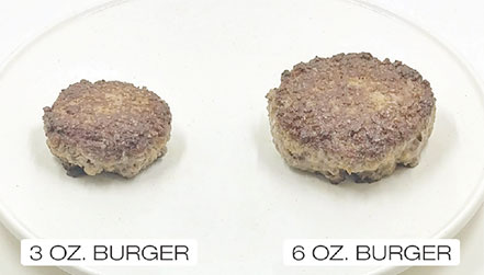 one three-ounce burger on the left and one six ounces burger on the right