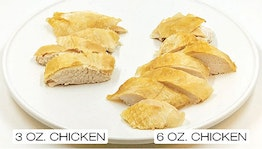 three ounces of sliced cooked chicken on the left and six ounces of sliced cooked chicken on the right