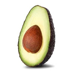 half of an avocado with the seed and fruit showing