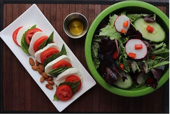 keto meal plan green salad Caprese salad almonds and a small cup of olive oil dressing