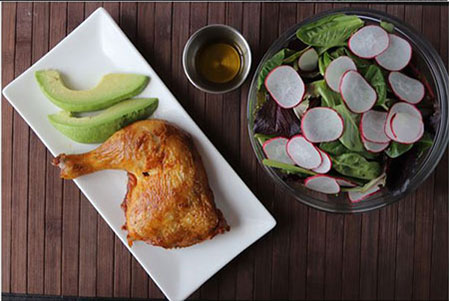 keto meal plan green salad a cooked chicken leg with avocado slices a small cup of olive oil dressing