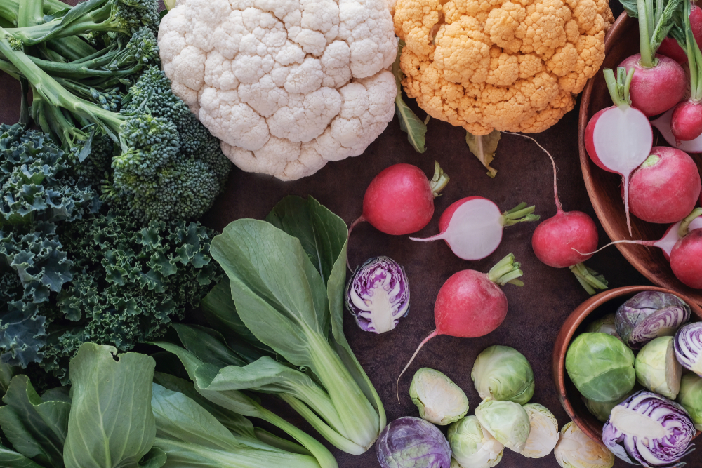 vegetables such as cauliflower broccoli radishes brussel sprouts