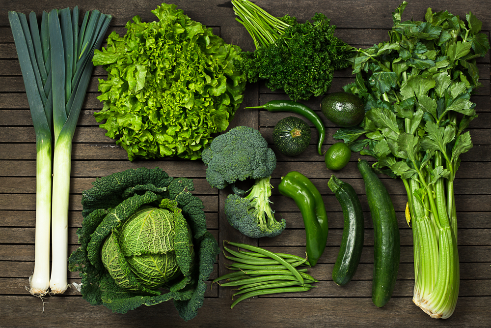 green vegetables such as leeks, cabbage, parsley, peppers and broccoli