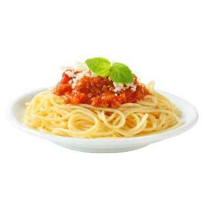 a plate of cooked spaghetti with sauce and garnish on top